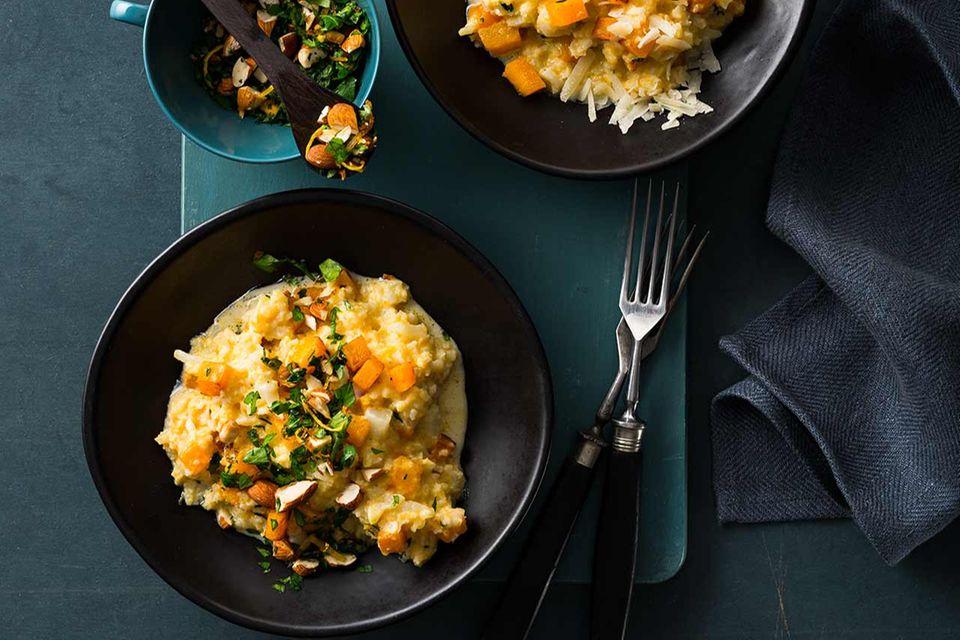 Blumenkohl-Kürbis-Gemüse mit Mandel-Gremolata
