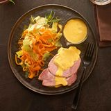 Kasseler mit Möhren-Spitzkohl-Gemüse und Senf-Hollandaise: Thermomix ® Rezept