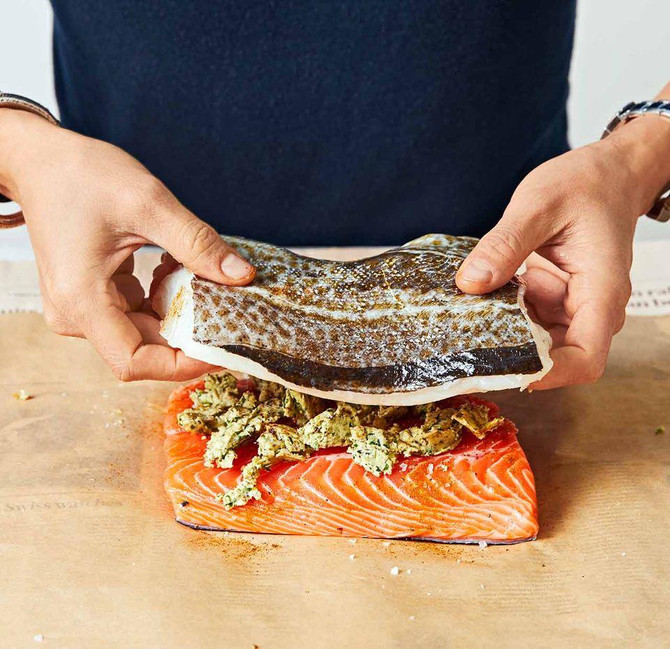 Fisch im Päckchen: Schritt A
