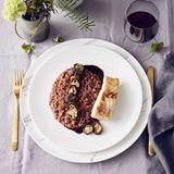 Cassis-Risotto mit Steinbuttfilet und Shiitake-Pilzen