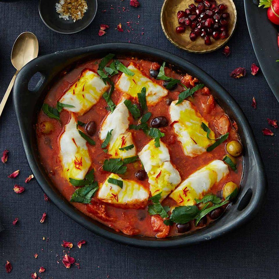 Safran-Fisch in Tomatensauce