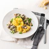 Kartoffel-Parmesan-Stampf mit  Pilzragout