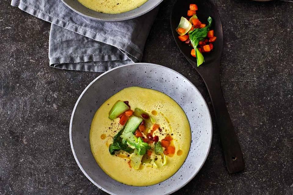 Gelbe-Linsen-Suppe mit Möhren und Pak choi Rezept