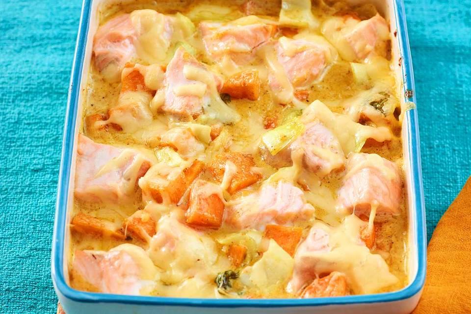 Lachs-Süßkartoffel-Auflauf Rezept