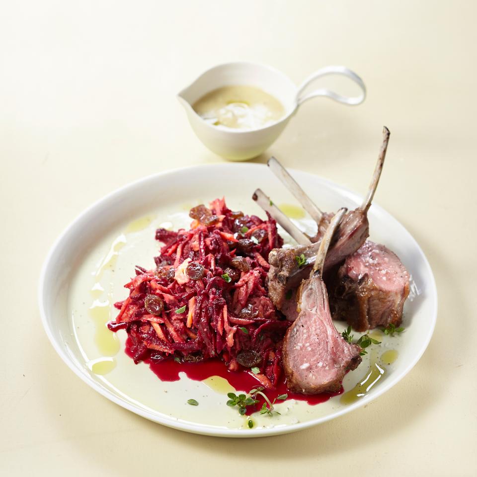 Lammkoteletts mit Rote-Bete-Salat