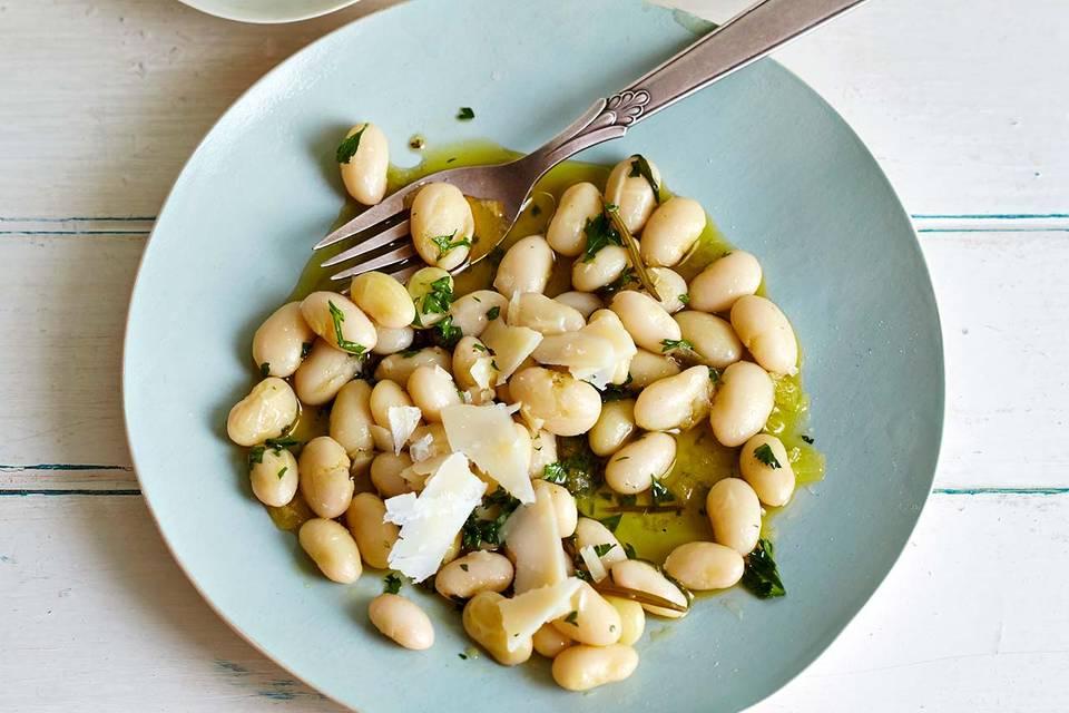 Palbohnen, Olivenöl und Parmesan Rezept