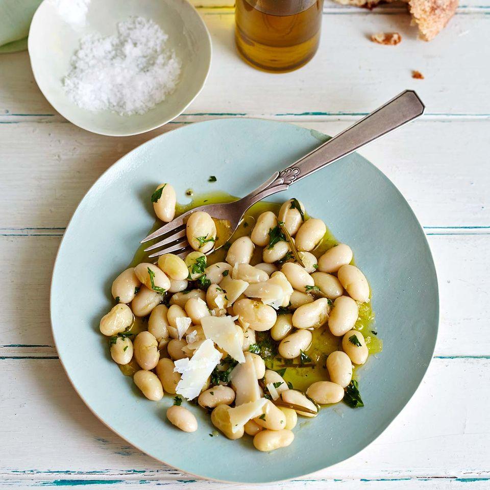Palbohnen, Olivenöl und Parmesan
