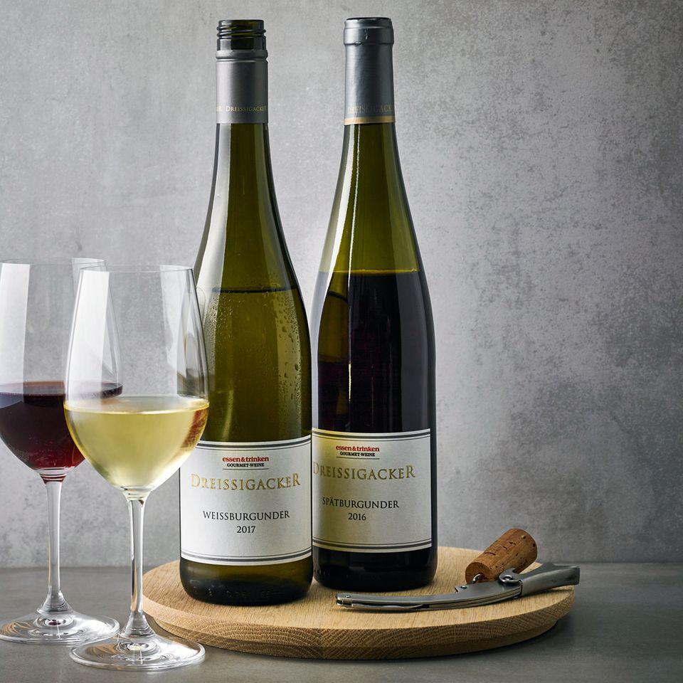 essen&trinken Weine von Jochen Dreissigacker Weißburgunder und Spätburgunder in der Flasche und im Glas