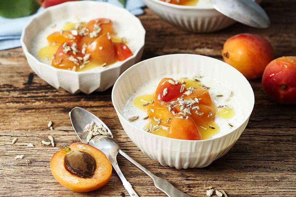 Buttermilch-Panna-cotta mit Aprikosenkompott Rezept