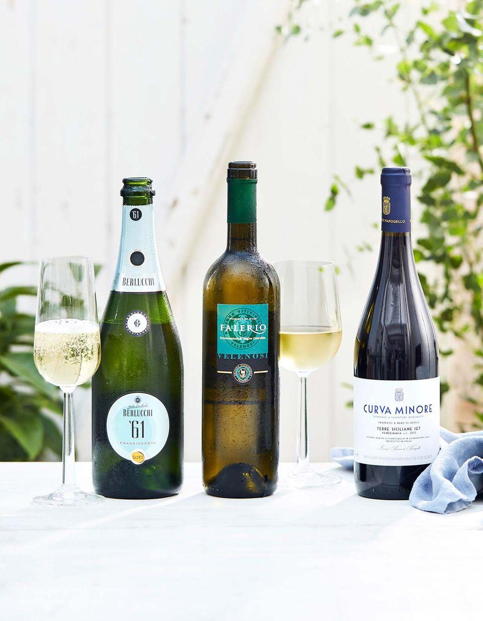 Das Weinpaket zur Sommerparty besteht aus Schaum-, Weiß- und Rotwein