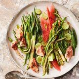 Bohnen-Spargel-Salat mit Gewürzlachs und Melone