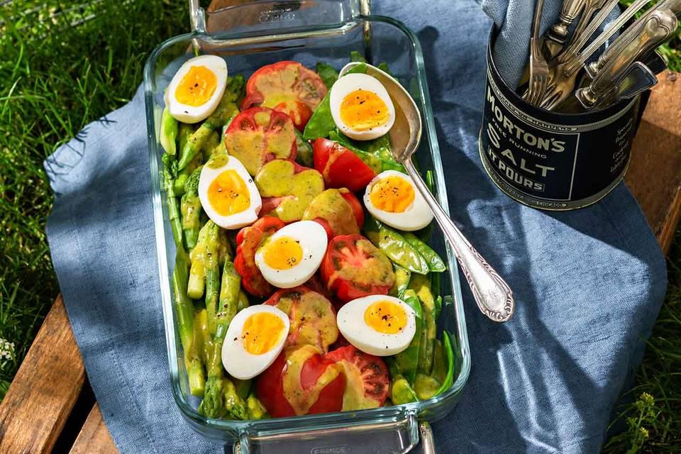 Mariniertes Gemüse mit wachsweichen Eiern Rezept