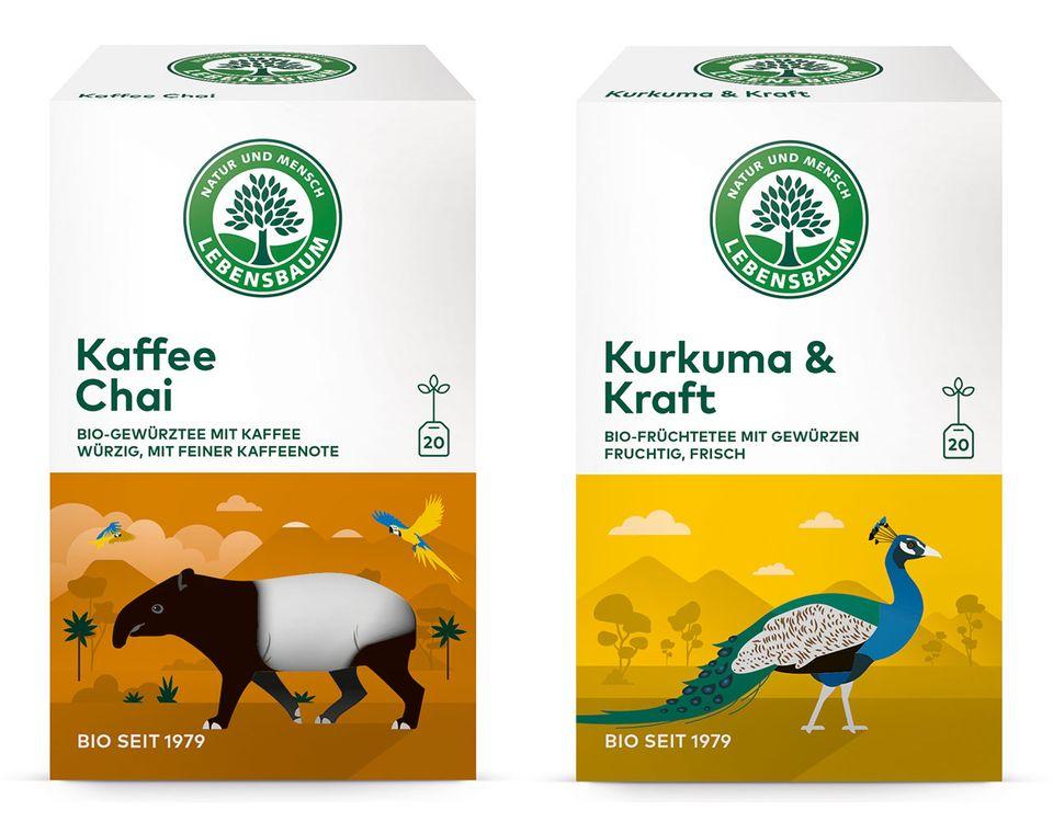 Teesorten Kaffee Chai und Kurkuma und Kraft von Lebensbaum