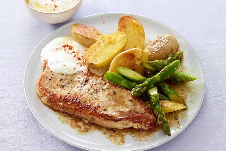 Schnitzel mit Spargel und Kartoffeln Rezept