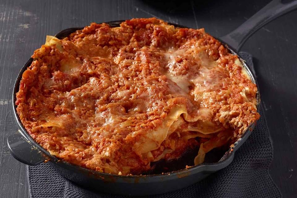 Vegetarische Lasagne aus der Pfanne