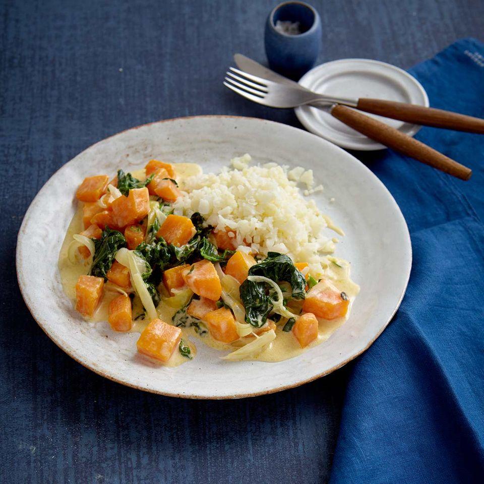 Low-Carb-Kürbis-Spinat-Gemüse