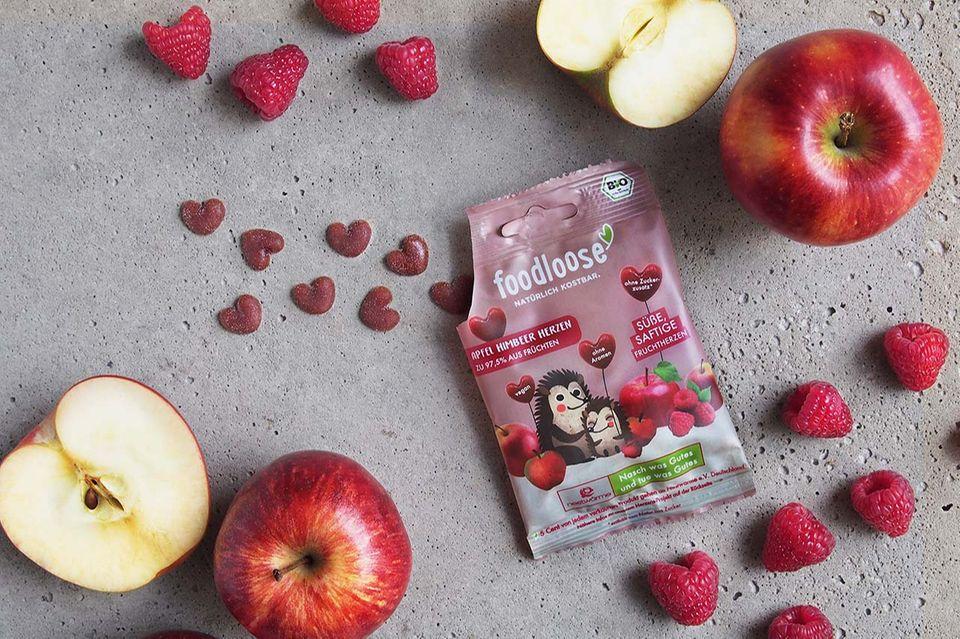 Fruchtherzen in der Sorte Apfel-Himbeer