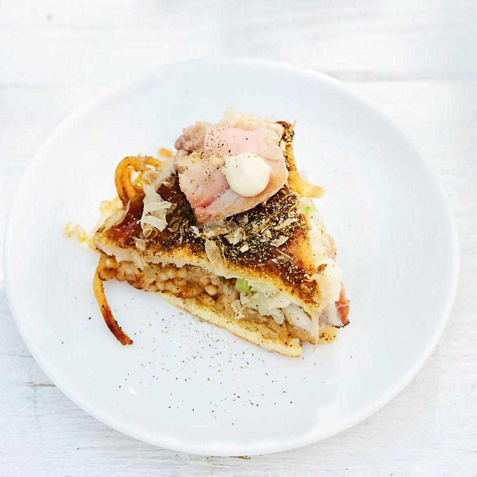 Makrele süßsauer auf Okonomiyaki