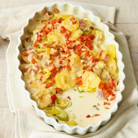 Kartoffel-Lauch-Auflauf mit frischer Muskatnuss