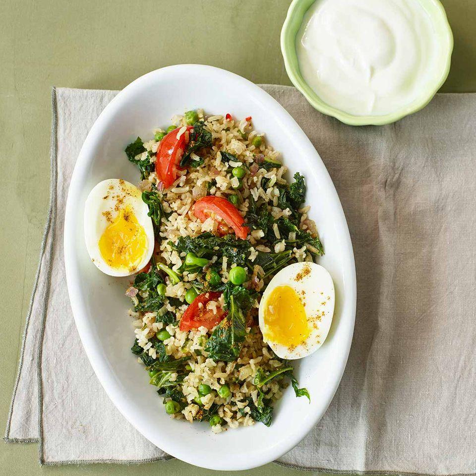Gemüse-Reis-Pfanne mit Ei