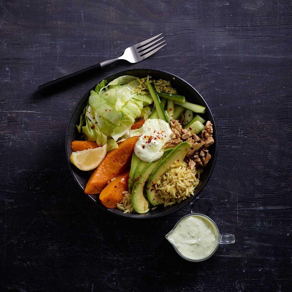 Kürbis-Reis-Bowl