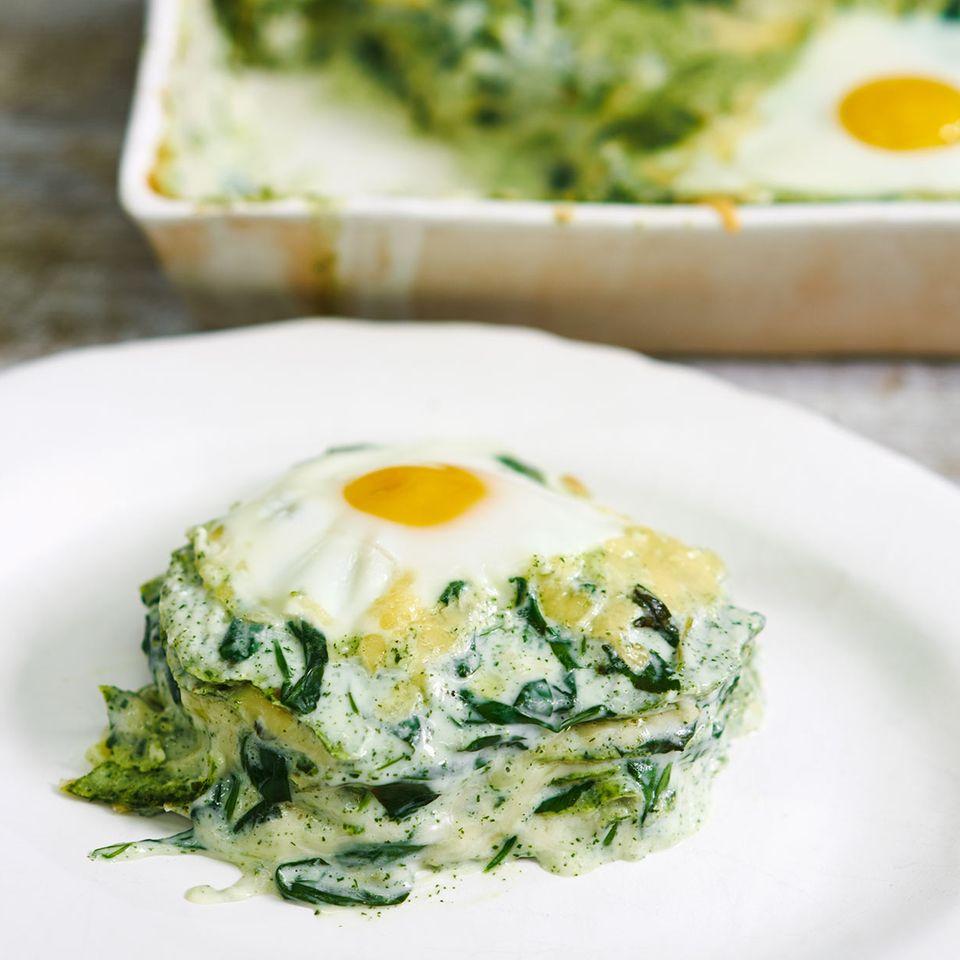Pfannkuchen-Spinat-Lasagne