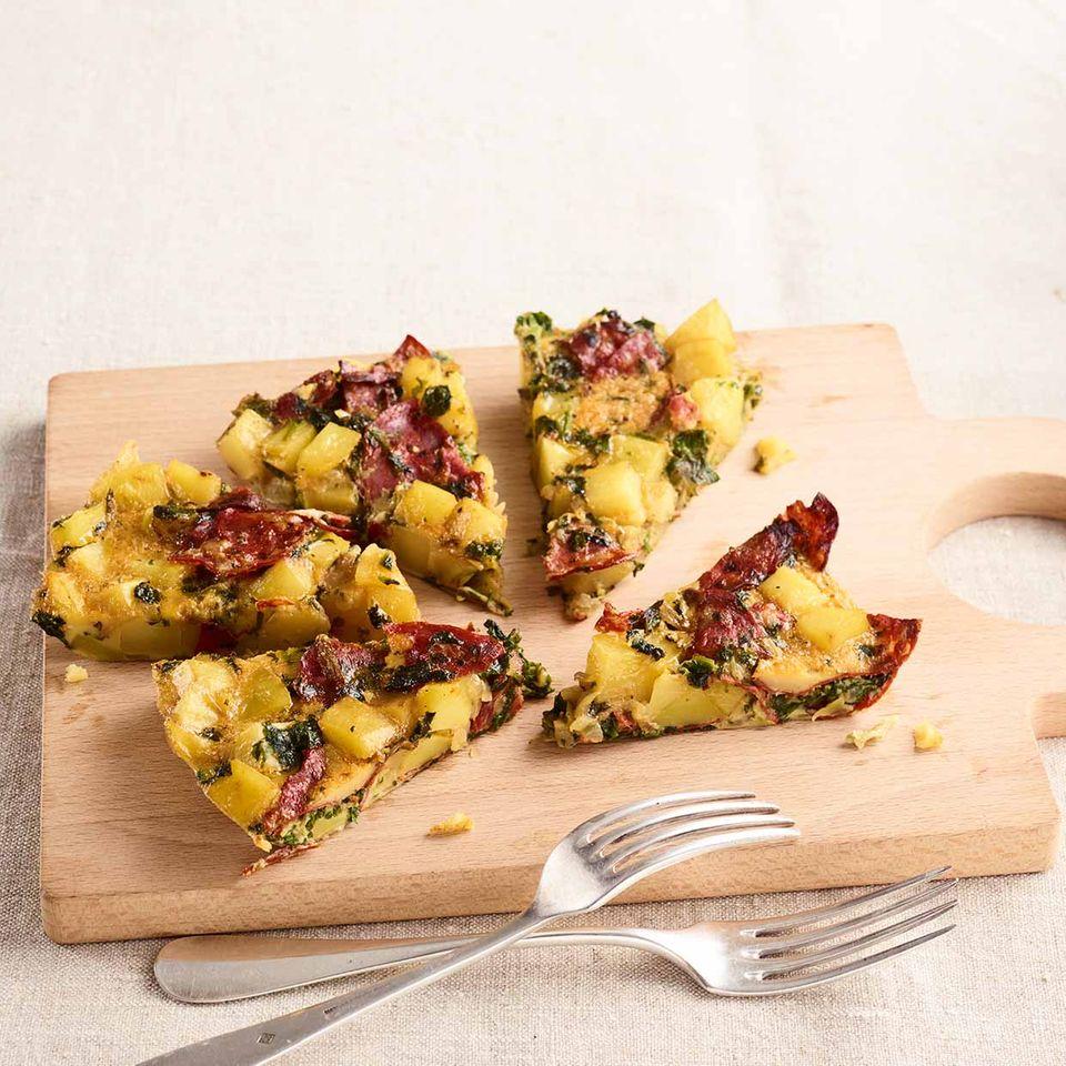 Tortilla mit Spinat und Chorizo