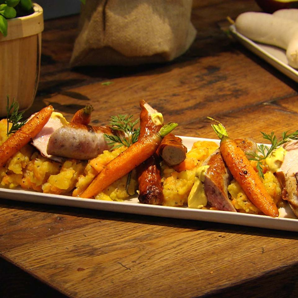 Grobe Bratwurst mit Steckrübenpüree: Rezept aus der Kochshow essen & trinken Für jeden Tag