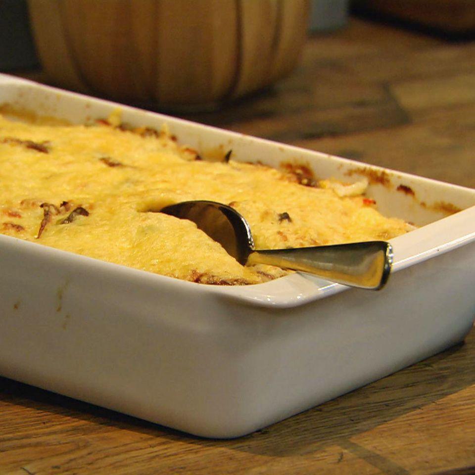 Hack-Reis-Lasagne mit Mandeln: Rezept aus der Kochshow essen & trinken Für jeden Tag