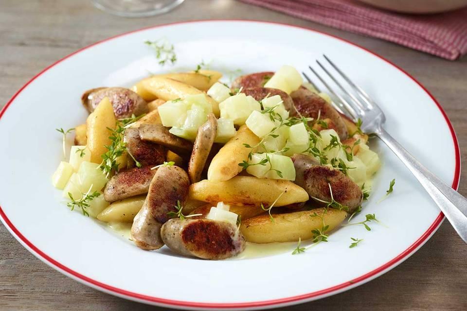 Bratwurst-Schupfnudel-Pfanne mit Kohlrabirahm Rezept