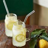 wiederverwendbare Trinkhalme aus Glas, Limonade mit Zirtonenscheiben in Einweggläsern serviert,