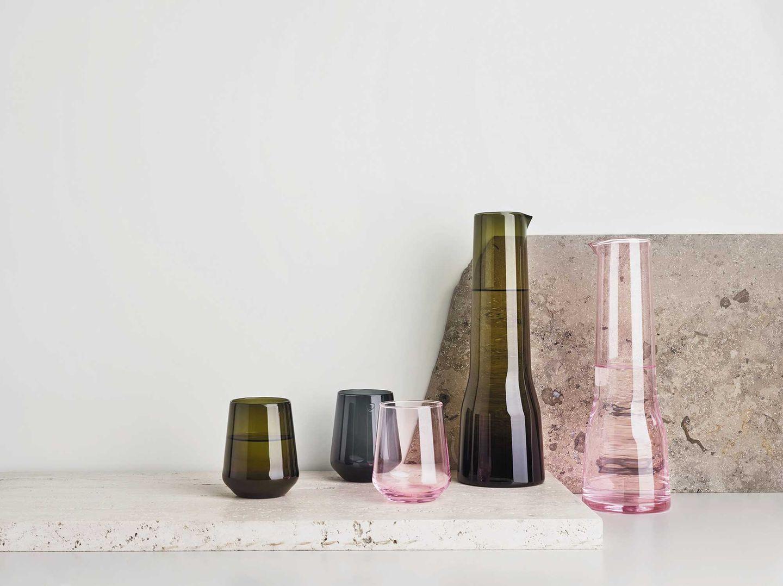 Handgeblasene Glaskaraffen von iittala, pink, grün
