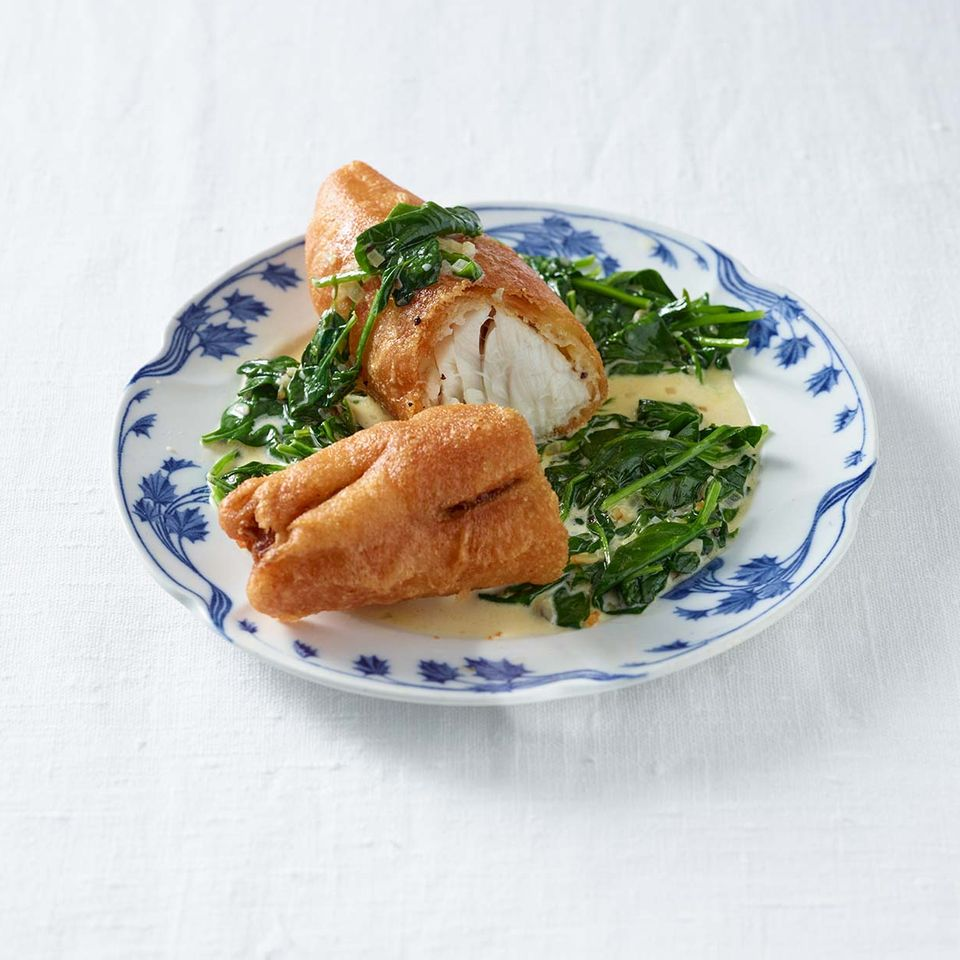 Backfisch mit Rahmspinat