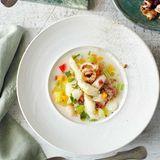 Spargel-Gemüse-Eintopf mit Räucheraal und Calamari