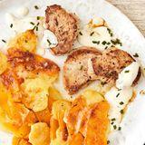 Kartoffel-Kürbis-Gratin mit Medaillons