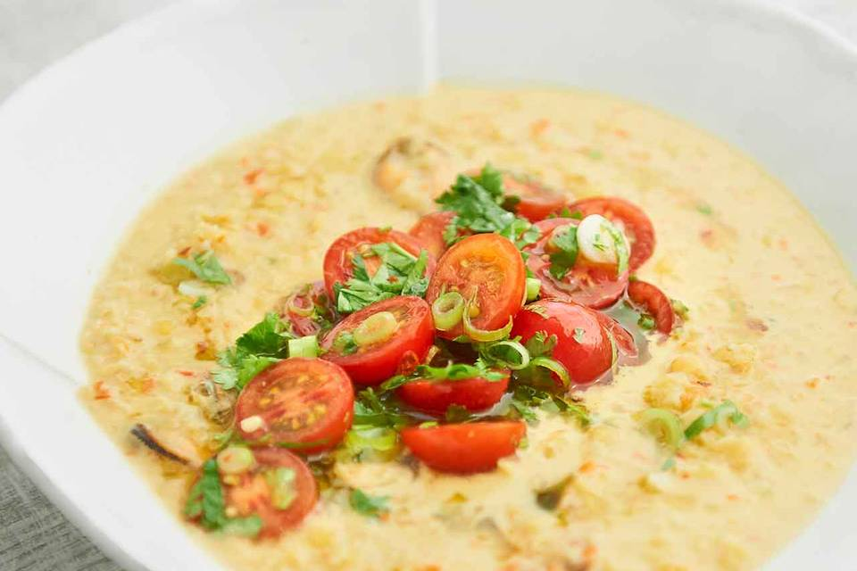 Linsen-Muschel-Curry Rezept