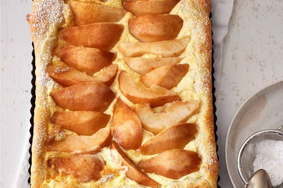 Birnen-Schmand-Kuchen vom Blech Rezept