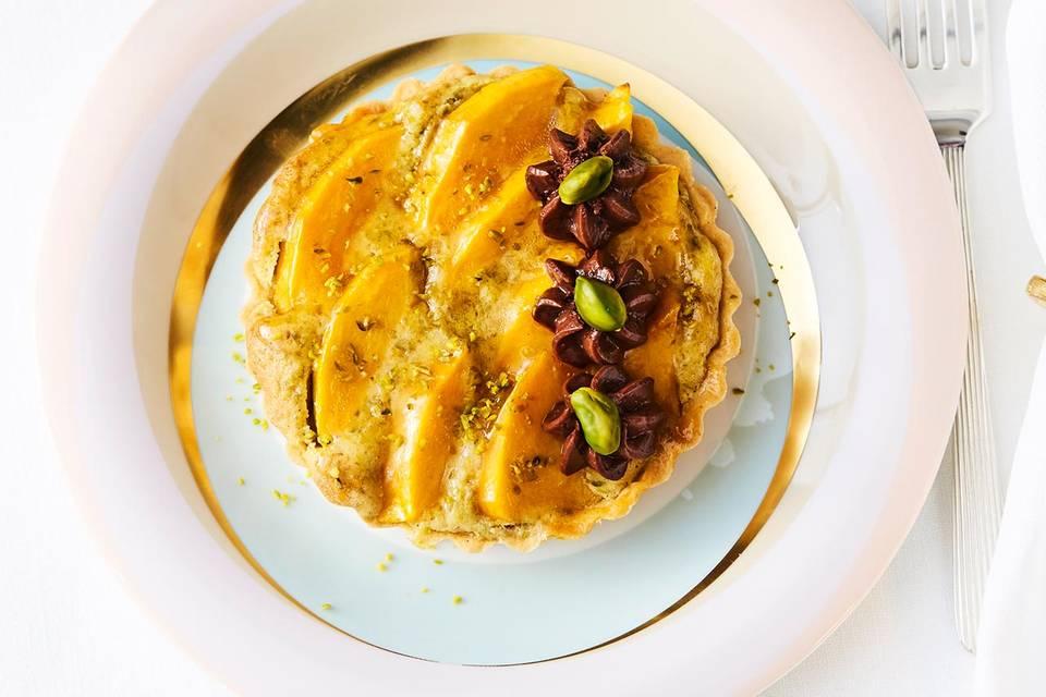Mango-Tartelettes mit Nussöl-Schoko-Mousse Rezept