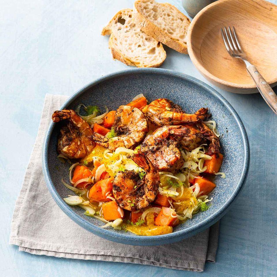Garnelen mit Fenchel-Papaya-Salat
