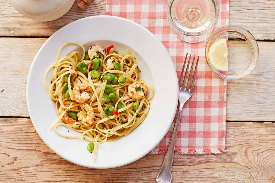 Pasta mit dicken Bohnen und Garnelen: Thermomix ® Rezept