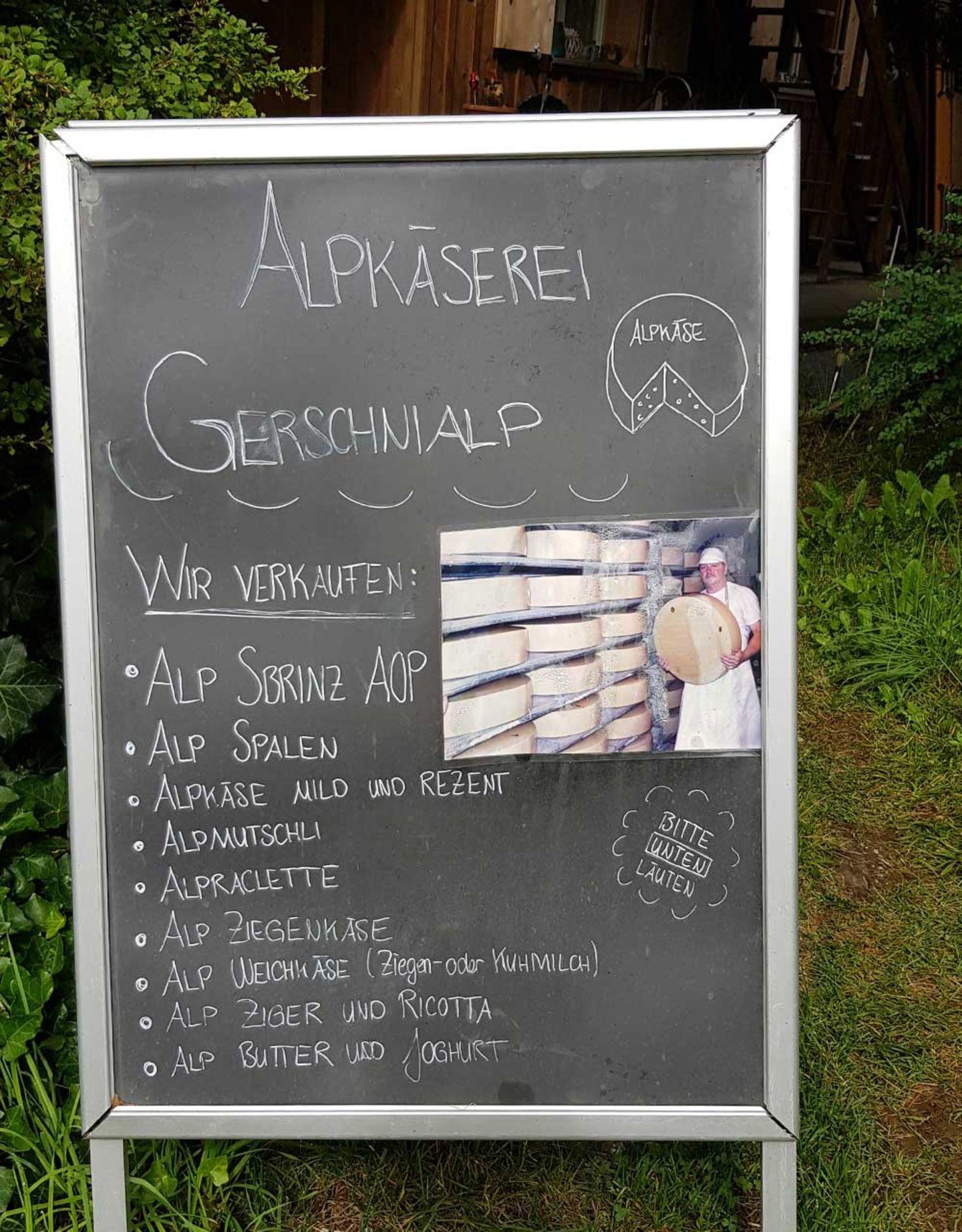 Gerschnialp Tafel mit Käsesorten