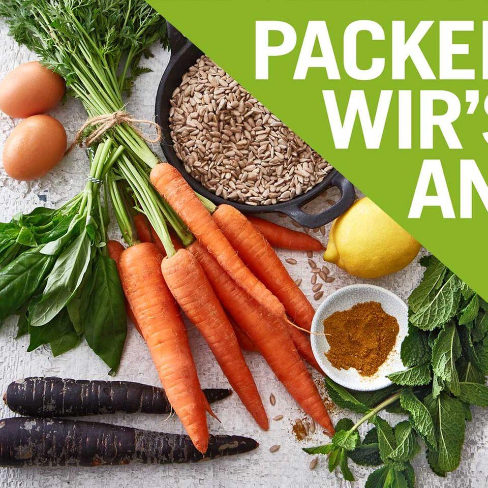 verschiedenes Gemüse und Gewürze für Packen wirs an
