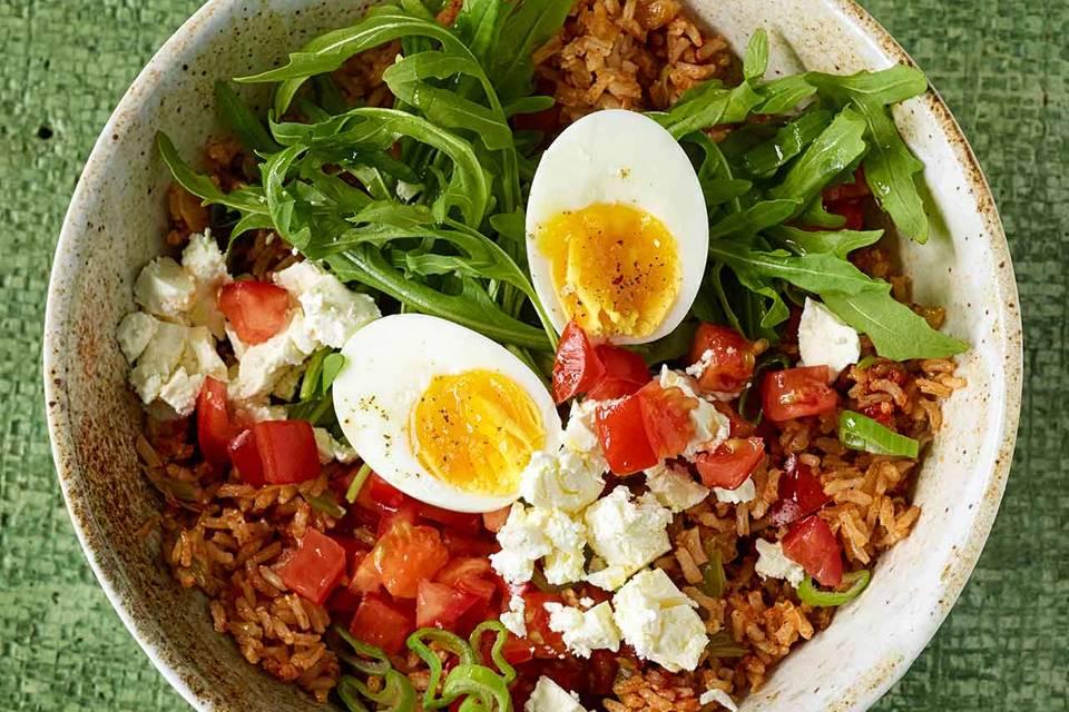 Reis-Bowl mit Ei Rezept