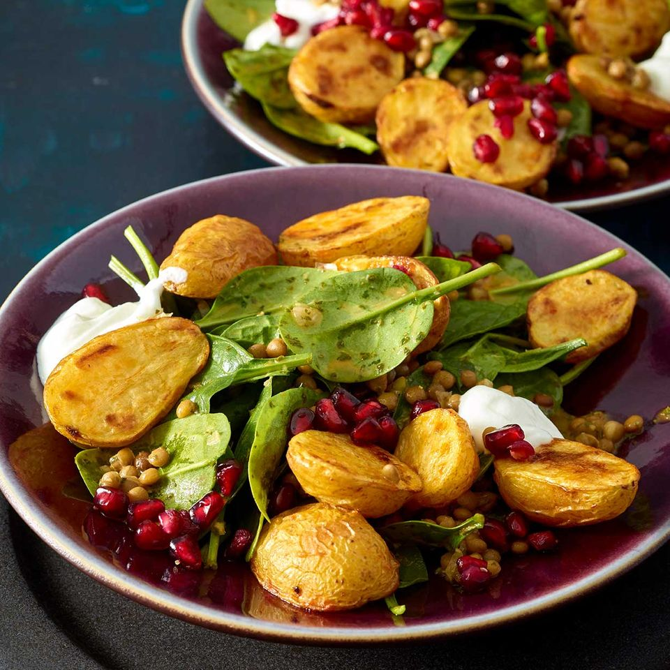 Harissa-Kartoffeln mit Linsensalat