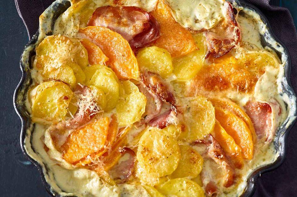Kartoffel-Kürbis-Gratin mit Kasseler