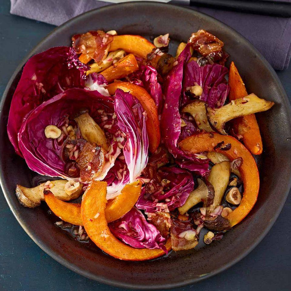 Herbstsalat mit Kürbis und Bacon