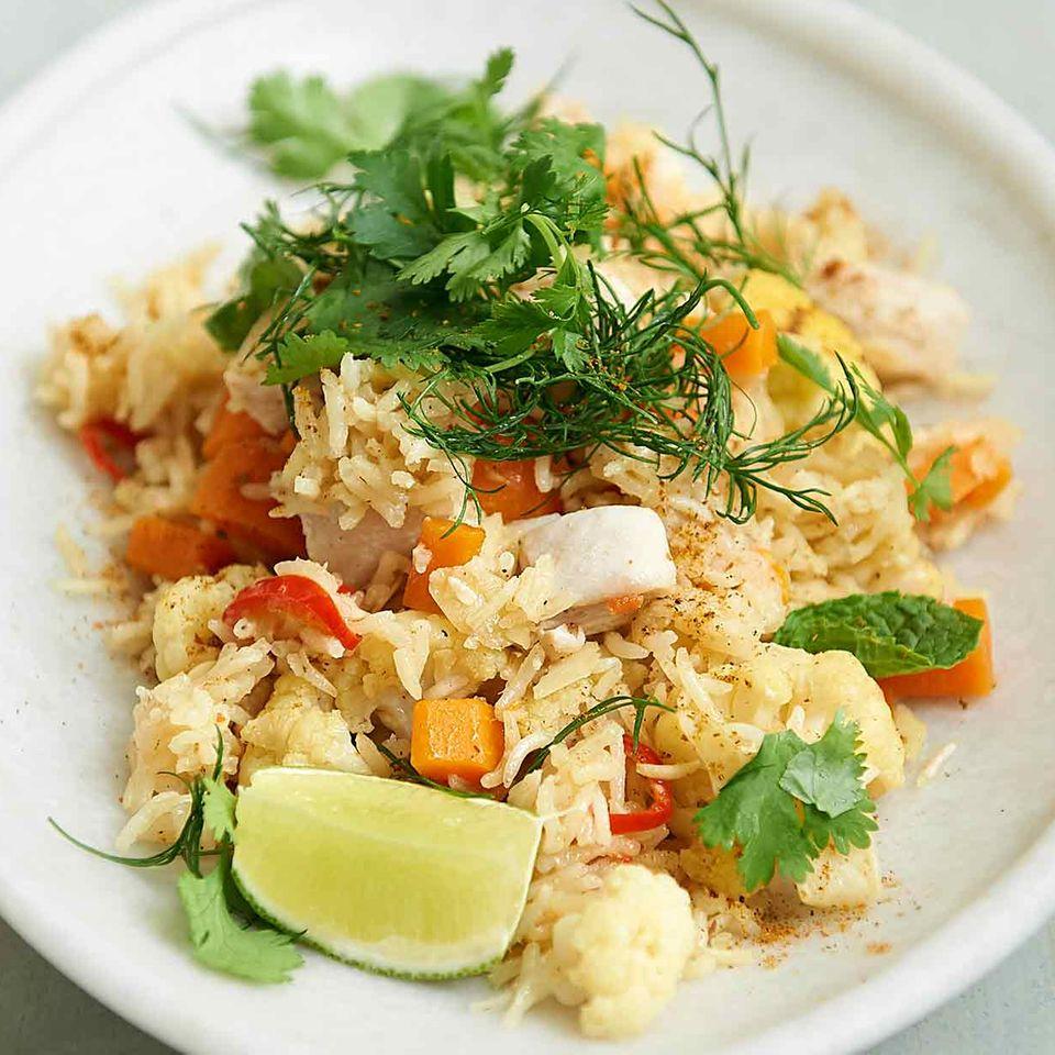 Hähnchen-Pilaw mit Gemüse