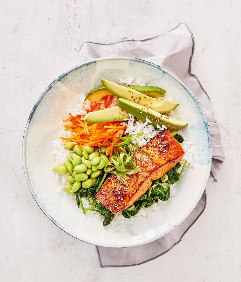 Teriyaki-Lachs-Bowl