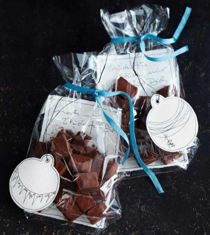 Schokoladenkonfekt in Klarsichtfolie
