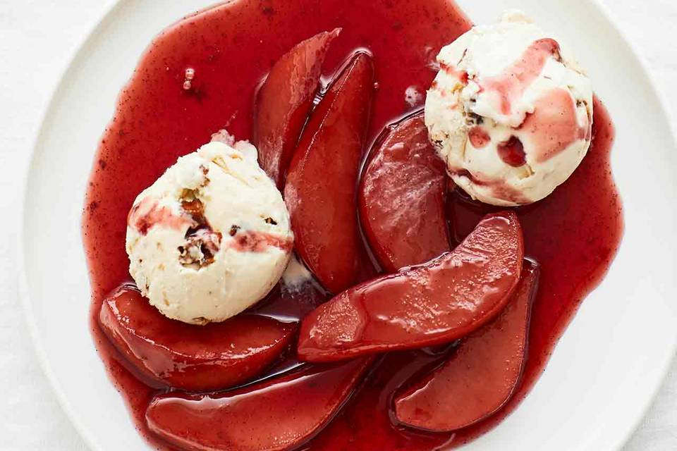 Rotweinbirnen mit Eis Rezepte